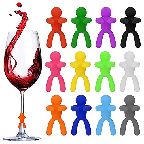 12 Pezzi Segnabicchieri Silicone Marcatori Marcatori per Bicchieri da Vino Pennarello in Vetro per Vino Identificatore Del Bicchiere di Vino, Segnabicchieri per Vino Tazza per Bar Party
