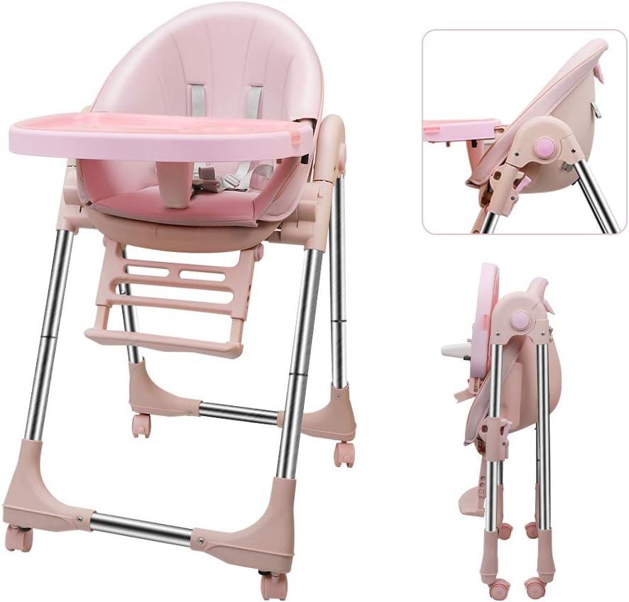 Nettoyage facile R/églable OUNUO Chaise Haute Enfant ROSE Chaise Haute B/éb/é Evolutive Avec Roulettes Pliable