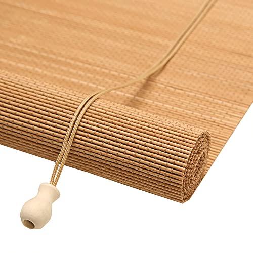 persianas enrollables Cortinas Enrollables de Bambú Natural, Cortinas Enrollables Filtrantes de Luz con 65% de Protección UV, para Sala de Estar Rústica, Estudio, Balcón, Terraza Acristalada, Cocina