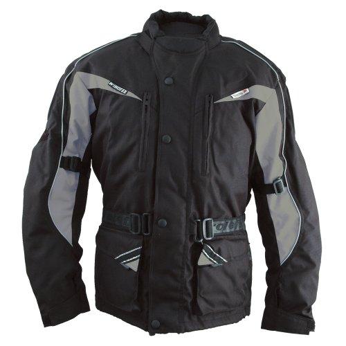 Roleff RO10003 klassiche lange Motorradjacke mit Protektoren, schwarz, grau, Größe XS