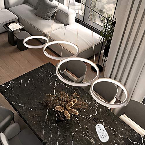 Lampada a sospensione a LED dimmerabile lampada da tavolo moderna da pranzo lampada da camera bianca 54W in ottica ad anello Lampada a sospensione per ufficio regolabile in altezza