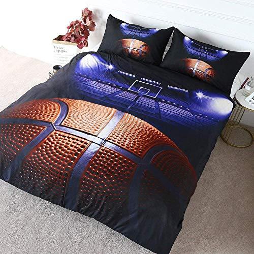 QIMGIC Copripiumino Una Piazza E Mezza Campo Da Basket Basket Creativo Semplice 200X200 Cm Stampa Digitale 3D Camera Da Letto Camera D'Albergo Camera Dei Bambini 1 Copripiumino E 2 Federe