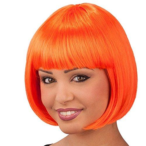 Perruque Coupe au Carré Orange Fluo Adulte - Accessoire Deguisement - 284