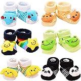 Adorel Calcetines Antideslizantes con Muñecos para Bebé Niños Paquete de 6 Multicolor 4-12 Meses