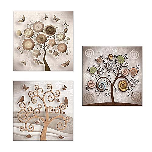 Lupia Juego de 3 cuadros sobre lienzo árbol de la vida Canvas Day 38 x 38 cm Tree