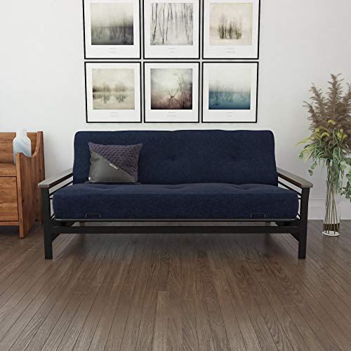 """DHP Essence 8"""" Independently Encased Coil Futon Mattress with CertiPUR-US Certified Foam, Full, Blue Linen"""