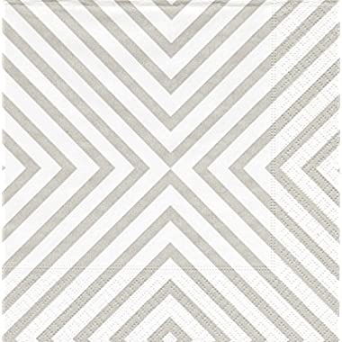 Entertaining with Caspari Cocktail Napkin, Chevron Pale Silver, 20-Pack