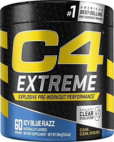 C4 Extreme Pre Workout Powder Icy Blue Razz   Preworkout Energy Supplement for Men & Women   200mg Caffeine + Beta Alanine + Creatine   60 Servings