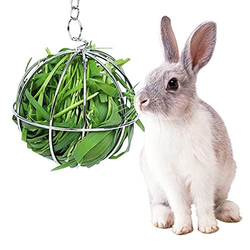 4 piezas Bola de alimentación de heno 8cm Bola de hierba de alimentación de conejo de acero...