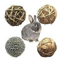 Hitasi 4個入り 咀嚼のおもちゃ ウサギ おもちゃ ハムスター 磨きボール 鳥かむおもちゃ 歯磨き チンチラ あそび道具 自然な草のわらの球 わら歯 遊具 天然素材 安全 運動不足解消 ストレス解消