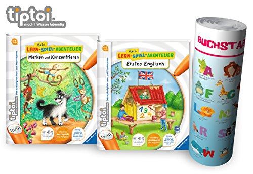 Collectix Ravensburger tiptoi  Bücher Starterset | Merken und Konzentrieren + Erstes Englisch Buch + Buchstaben Poster Englisch Tiere, Tip TOI, Schule, Zahlen