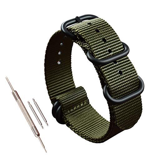 21mm grün Nylon Uhrenarmband Band für Männer Militär Zulu Stil Armband