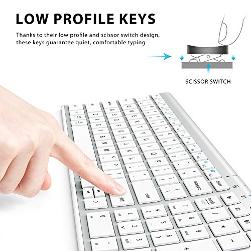 iClever BK10 Bluetooth Keyboard, Multi Device Keyboard Rechargeable Bluetooth 5.1 with Number Pad Ergonomic Design Full Size Stable Con   nection White Keyboard for iOS, Android, Windows