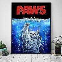 キャンバスHDプリントポスター足壁アート家の装飾猫の水絵リビングルームのモジュラー動物の写真-60x80cm(フレームなし)