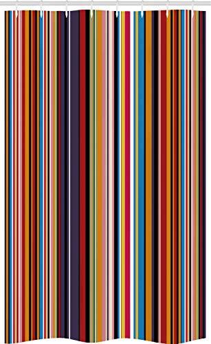 ABAKUHAUS Abstrakt Schmaler Duschvorhang, Leuchtende Farben Gestreifte, Badezimmer Deko Set aus Stoff mit Haken, 120 x 180 cm, Rosa Rot