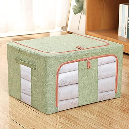 N\C Caja de almacenamiento plegable con marco de acero, apilable, gran bolsa de almacenamiento con asa y ventana transparente, adecuada para ropa, juguetes, cosméticos, ropa de cama