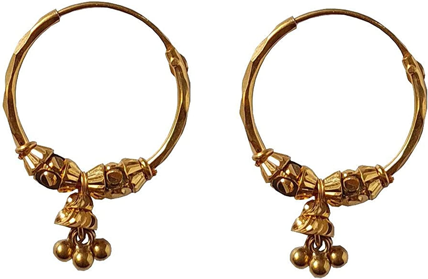Certified Solid 22K/18K Yellow Fine Gold Abstract Design Hoop Earrings Available In Both 22 Carat And 18 Carat Fine Gold, For Women,Girls,Kids,Gifts,Bridal,Wedding,Engagement & Celebrations