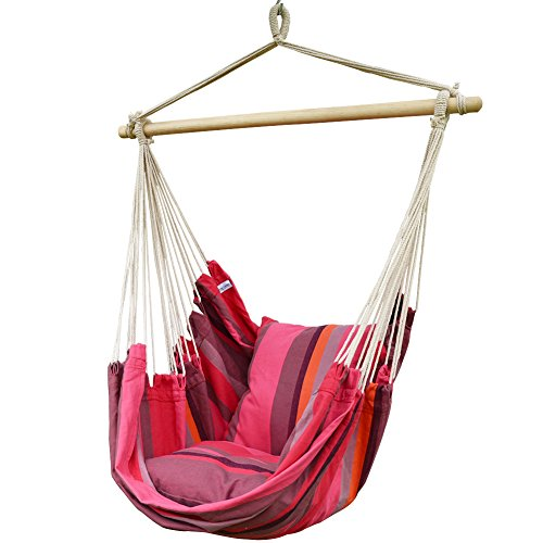 Prime Garden Comfort Cotton Hanging Hammock Chair, Rope Swing Chair with 2 Cushions for Indoor or Outdoor - Max. 275 Lbs (Pink Stripe)