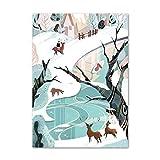 Retro Snow Mountain Forest Lake Ilustración Arte de la pared Lienzo Pintura Poster Living Room Picture 20X25 cm