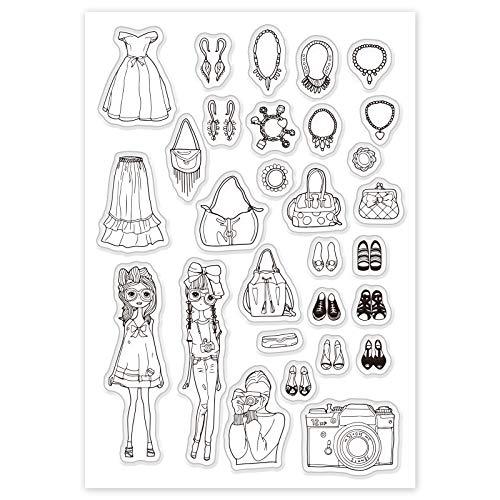 GLOBLELAND Mode flicka mönster gummistämplar klänning handväska skor mönster akrylstämplar silikon klara frimärken för scrapbooking fotokort album dekor, 160 x 110 mm