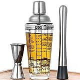 Cocktail Shaker Set mit Rezepten, Glas 400ml Bubble Tea Becher Cocktail Gläser,Cocktail Mixer mit Jigger und Stössel,4cl Messbecher Edelstahl Boston Shaker Bar Zubehör Coktailmixset