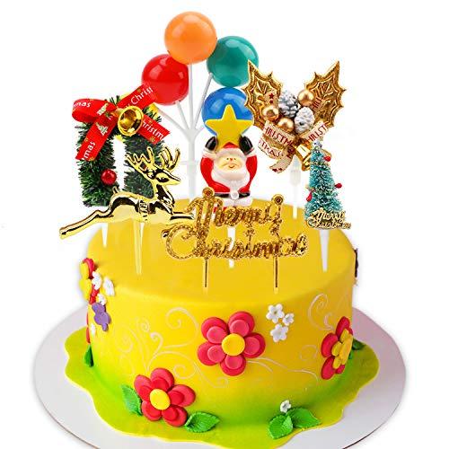 HOWAF 7 Stile Natale Torta Toppers per Luccichio Cupcake Muffin Dolce Torta Decorazione, Natale Cake Cupcake Toppers Decorazione per Cibo Frutta Insalata Spuntini Natale Compleanno Decorazione