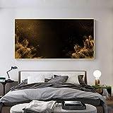 Fondo negro Pintura al óleo Carteles e impresiones escandinavos Paisaje urbano Lienzo Arte Cuadro de pared para la decoración de la pared de la sala de estar 20x40cm (8x16in) Con marco