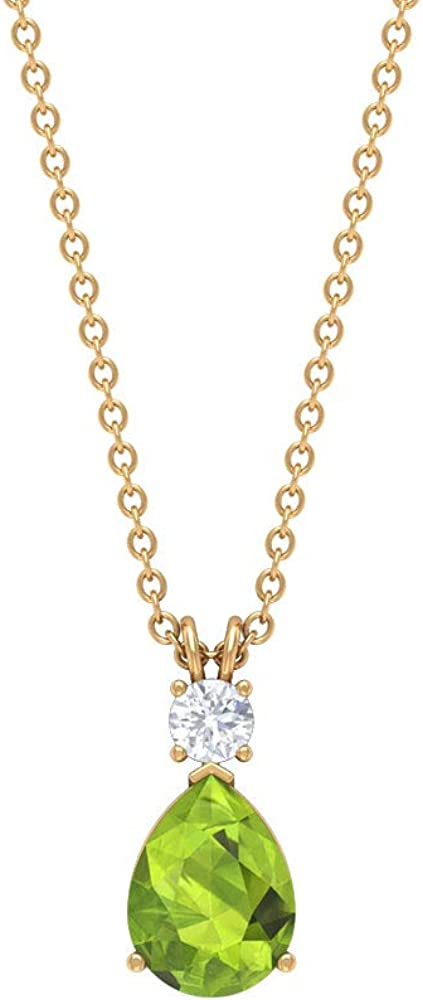 Peridot Pendant Necklace, 3 MM Moissanite Pendant, Gold Solitaire Pendant (8X6 MM Pear Shaped Peridot)