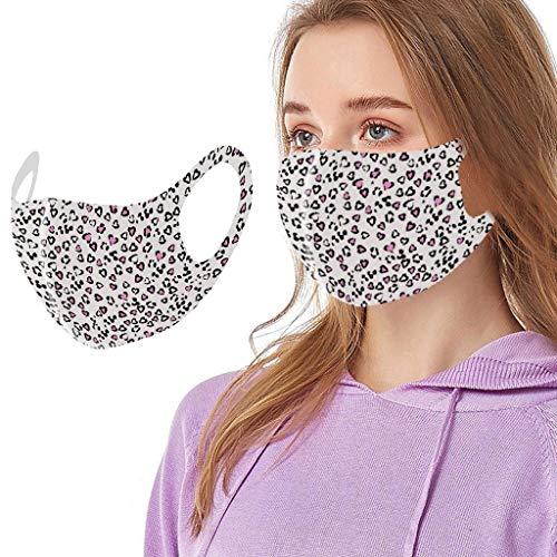 riou Mundschutz mit Motiv Waschbar Wiederverwendbar Sommer Seide Coole Atmungsaktive Mund und Nasenschutz Halstuch für Damen Herren (D)