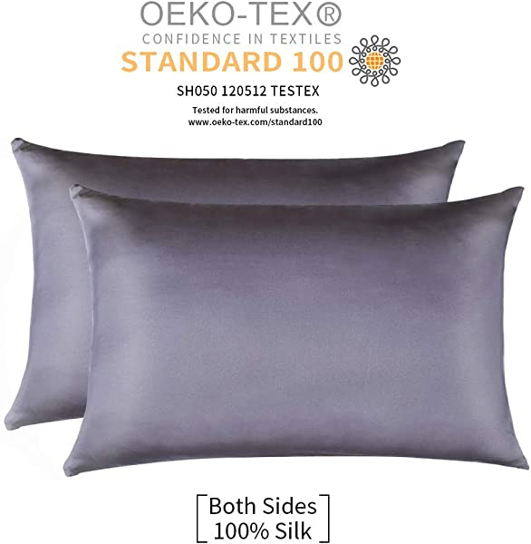 Jocoku 100 Mulberry Silk Pillowcases Set Of 2 For Hair And Skin And Super Soft And Breathable Standard Size White Queen King Standard Gray
