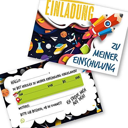 Kigebu 12 Einladungskarten zur Einschulung für Jungen und Mädchen - Cooles Design -perfekt für den Schulstart! (12 Einladungskarten)