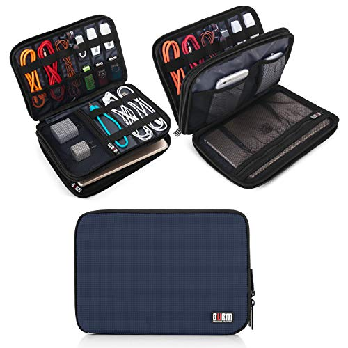 BUBM Double Layer Electronic Accessories Organizer, Travel Gadget Bag for Cables, USB Flash Drive, Plug and More, Perfect Size Fits for iPad Mini (Medium, Dark Blue)