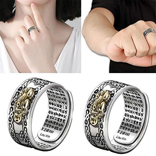 LXING Ontwerp Unisex Pixiu Charms Ring Feng Shui Amulet Lucky Wealth Boeddhistische Sieraden Verstelbare Ringvingerringen Dames Heren Gift A
