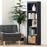 South Shore Axess 5-Shelf Narrow Bookcase-Pure Black