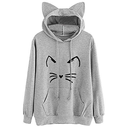 ABsoar Sweatshirt Frauen Kapuzenpullover Katzenohr Pullover Langarm Hoodie Sweatshirt mit Kapuze Pullover Tops Bluse
