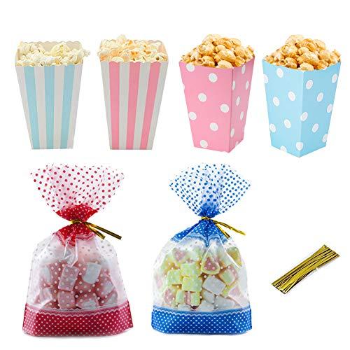 Cajas palomitas carton, lunares y bolsas de papel rayadas con palomitas de maíz Envase de dulces con bolsa de regalo de regalo para fiesta de baby shower de noche, rosa y azul (paquete de 48 unidades)