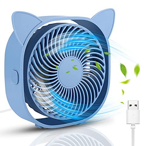 Ventilador USB de Mesa, Mini Ventilador Portátil con 3 Velocidades, Rotación de 360 Grados Super Silencioso para Oficina, Coche, Escritorio y Alimentado por USB, Azul, Lindo diseño de Oreja