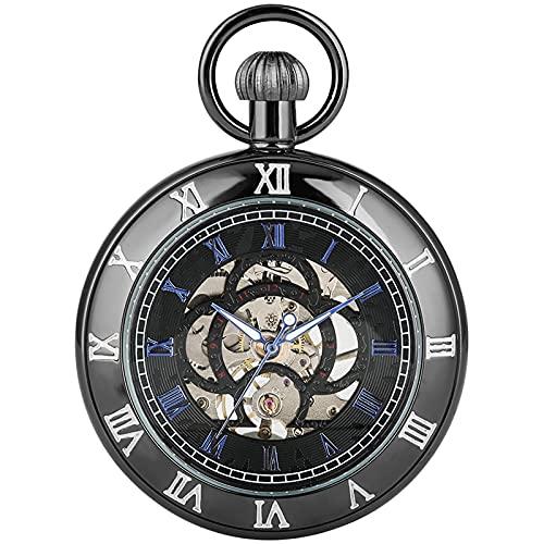 Reloj de Bolsillo con números Romanos Antiguos, Pulsera Manual Retro mecánica, Reloj Colgante, Plateado