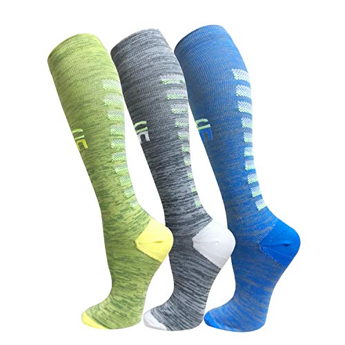 Compression Socks for Men & Women(3 Pairs),15-20mmHg is Best Stockings for Running,Nurses,Athletic,Medical,Pregnancy,Travel-Boost Performance,Blood Circulation&Recovery