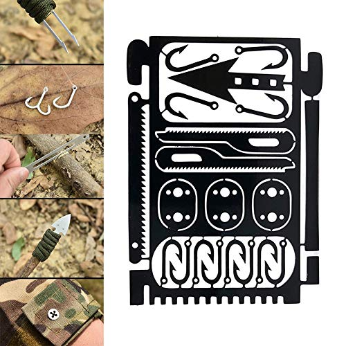 N/A. Gear Card Multi Fishhook Karte Überleben EDC Kit Multi Werkzeug Haken Löffel SägePfeil für Outdoor-Angeln Camping Jagd