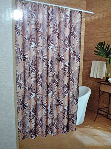 Caribbean Joe Island Supply Company Tropical Banana Leaf Brown Beige Shower Tub Curtain 70' X 72'