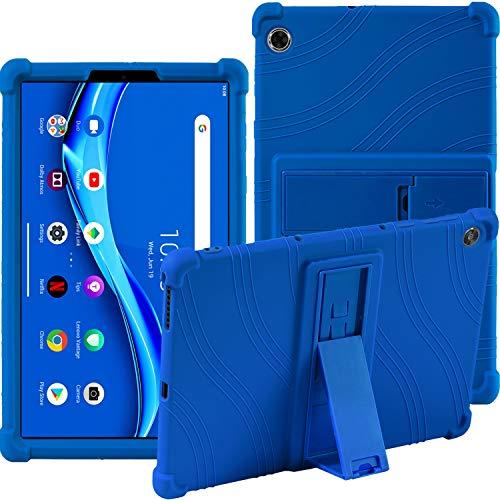 Hülle für Lenovo Tab M10 FHD Plus 2020 (TB-X606F/TB-X606X) - Stand Silikon Weich Beutel Stoßfest Gummi Hüllen (Blau)