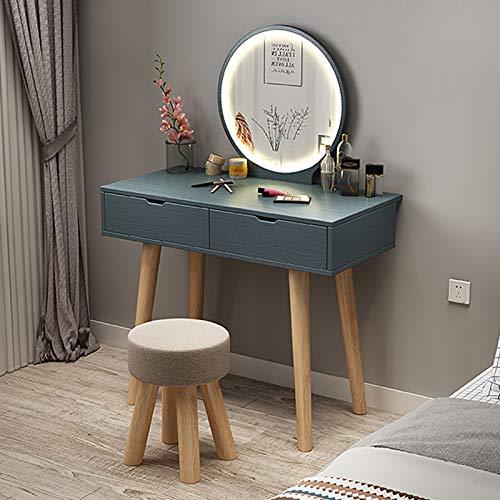 Schlafzimmer Schminktische mit 2 Kosmetikschubladen - LED-Lichter Spiegel Make-up Tisch für Mädchen Ankleidezimmer Kinder Schminktisch Set Holzbeine