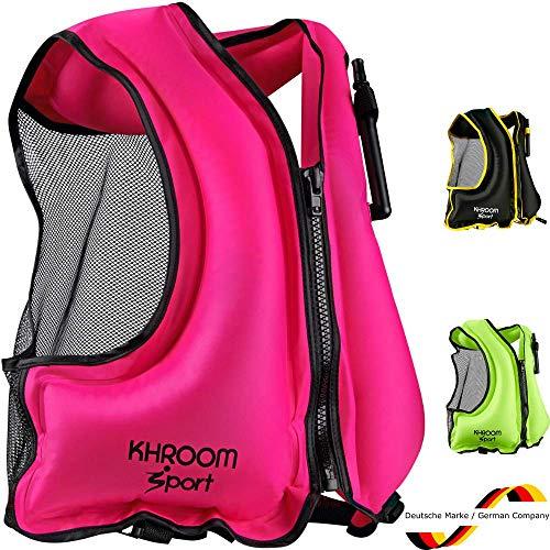 Khroom® aufblasbare Schwimmweste [NEUZUGANG] - wiegt nur 400 Gr. - Schwimmhilfe zum Schnorcheln, Kajak und SUP - für Erwachsene (Rosa)