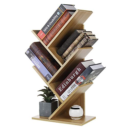 Book Shelf| 3/5 layers, Tree-Shaped Multi-Layer Shelf, Wooden Storage, Best Book Storage, Standing Shelves, Home, Office, Desktop, Bookcase| Small Bookcase (Walnut, 5 Tiers)