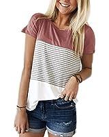 YunJey short sleeve round neck triple color block stripe T-shirt casual blouse,Red,Medium