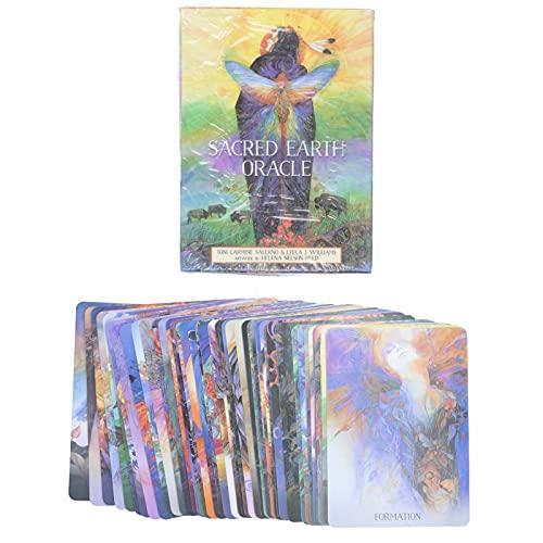 FOKH Tarotkarten,Holy Earth Holographic Portable Light Englisch Klassische Tarotkarten,Spielanleitung Wahrsagerei Schicksal Spielkarte Borderless Tarot Interaction Game für Anfänger/Experten,44 STK
