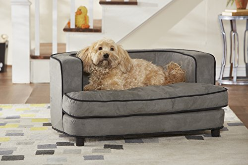 WohnDirect Small Designer Pet Sofa Bed for Dogs & Cats | Durable, Robust & Easy to Clean | Comfortable Soft Cushion for Your Dog and Practical Toy Storage Bag for Toys | 89x43x56cm