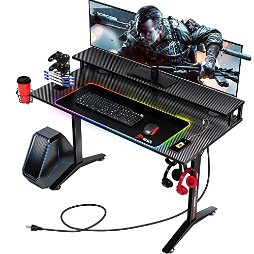 Seven Warrior Gaming Desk 40INCH with RGB Mouse Pad & Power Outlet, Carbon Fiber Surface Gamer Desk with Monitor Stand, Ergonomic Y Shaped Gamer Table with Cup Holder, Headphone Hook, Outlet Organizer
