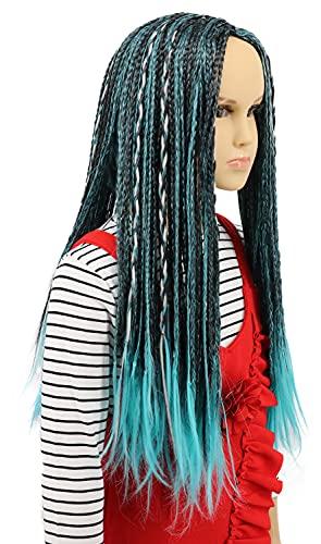 Peluca Karlery para niños, larga, trenzada, azul y negro, mezcla de peluca para Halloween, disfraz de anime